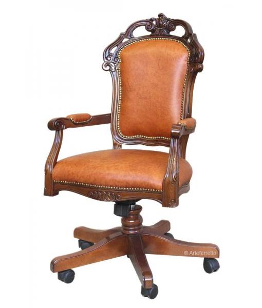 Leather office swivel armchair, SKU: GM-1BUL