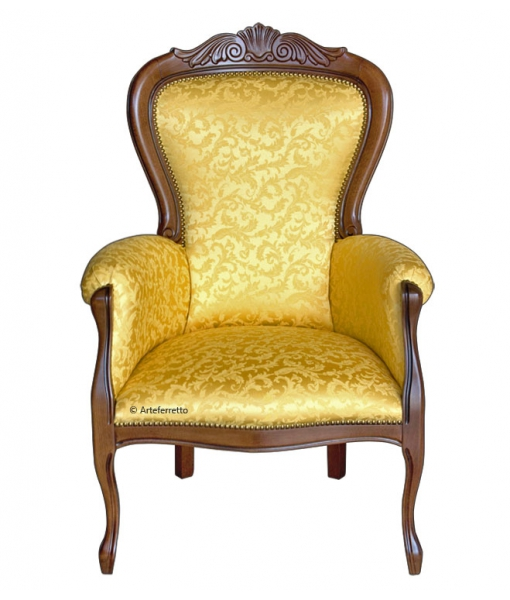 carved classic armchair, classic armchair, upholstered armchair, comfortable armchair, classic living room furniture