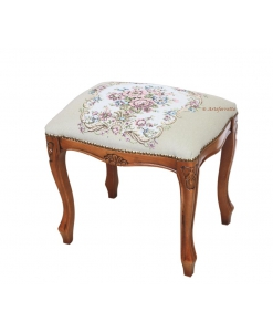 classical footrest stool, wooden carved structure, padded footrest stool, floral fabric, wooden footrest stool
