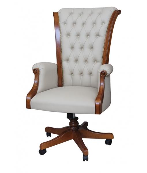 Wooden executive armchair buttoned backrest. Sku Master-1