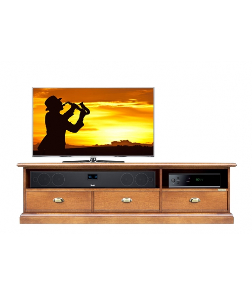 Low TV unit in wood 3 drawers. Sku SB-11