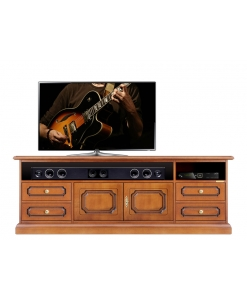 Wooden tv cabinet soundbar compartment