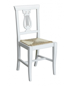 dining chair, chair, wooden chair, white dining chair, white chair, chair for kitchen, classic chair, chair with rush seat, rush seat chair, carved backrest chair