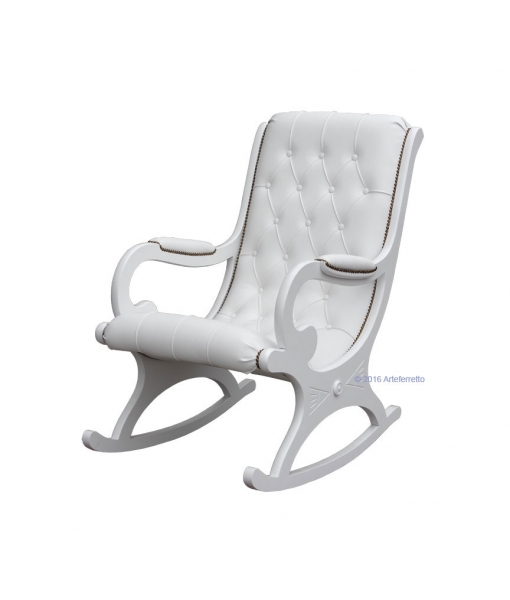 white rocking armchair, lacquered rocking armchair, rocking armchair, wooden rocking armchair, furniture for living room, armchair for living room, rocking armchair for living room, lacquered furniture