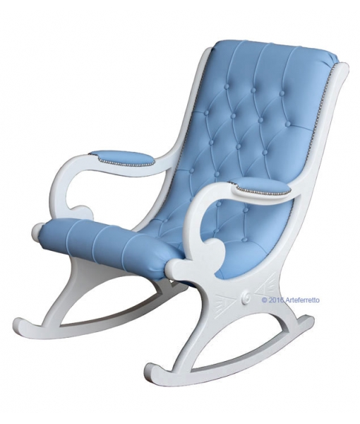 blu rocking armchair, white wood rocking armchiar, lacquered rocking armchair, rocking armchair, wooden rocking armchair, furniture for living room, armchair for living room, rocking armchair for living room, lacquered furniture