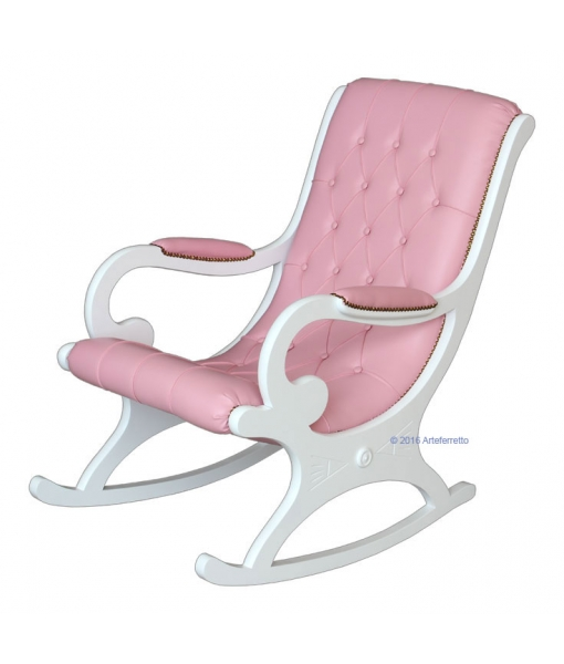 pink rocking armchair, white rocking armchair, wooden rocking armchair, lacquered rocking armchair, rocking armchair, wooden rocking armchair, furniture for living room, armchair for living room, rocking armchair for living room, lacquered furniture