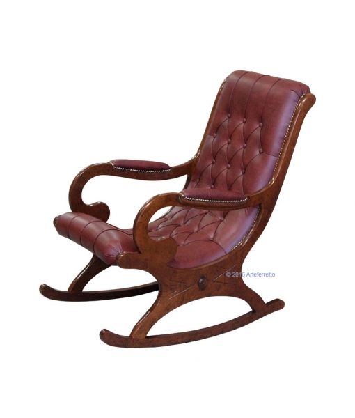 Padded rocking armchair, real leather rocking armchair, rocking armchair, armchair, rocking armchair for living room, livin room
