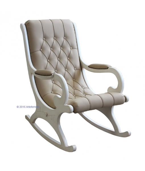White lacquered rocking armchair, rocking armchair, wooden rocking armchair, furniture for living room, armchair for living room, rocking armchair for living room, lacquered furniture
