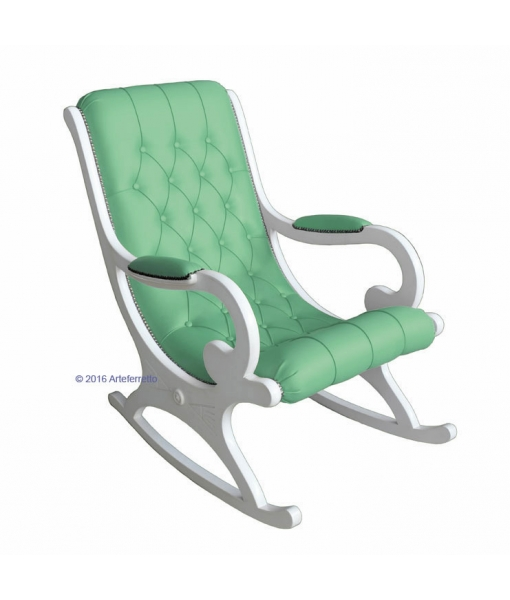 white rocking armchair, green rocking armchair, green furniture, lacquered rocking armchair, rocking armchair, wooden rocking armchair, furniture for living room, armchair for living room, rocking armchair for living room, lacquered furniture