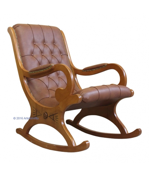 Rocking armchair Devis in cherry wood and leather. Product code: VIS-01
