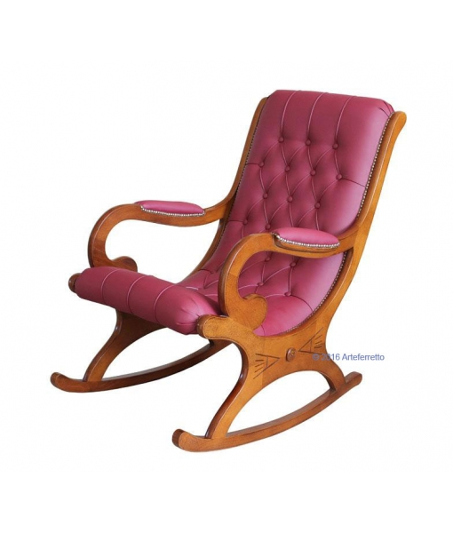 cherry wood armchair, wooden rocking armchair, rocking armchair, wooden rocking armchair, rocking armchair for living room, armchair, rocking armchair with eco leather, furniture for living room