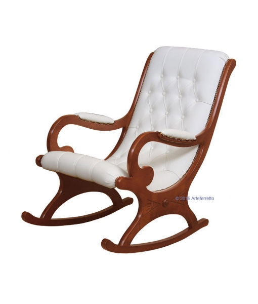 Buttoned back, cherry wood rocking armchair, white leather rocking armchair, rocking armchair, wooden rocking armchair, rocking armchair for living room, armchair, rocking armchair with eco leather, furniture for living room