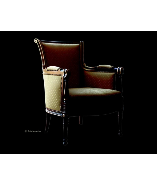 Classic armchair in solid beech wood, living room armchair, padded armchair, classic armchair,