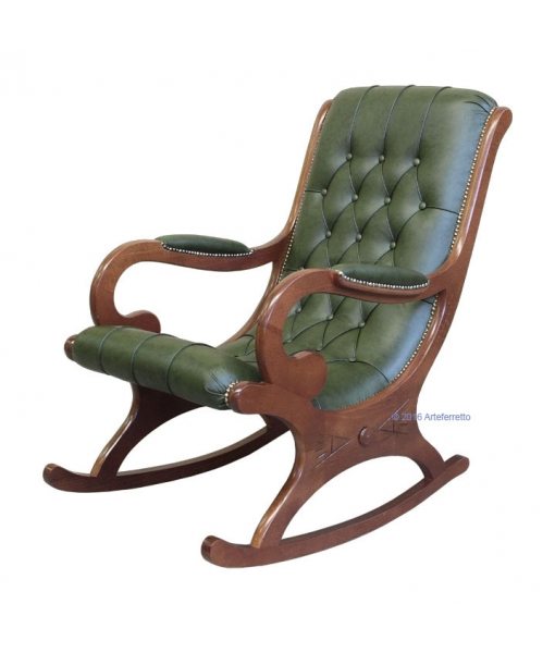 Green leather Rocking armchair. Product code: Vis-01-Bul