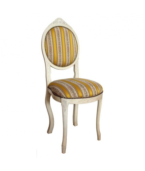 Lacquered classic oval chair. Product code: Vis-5AV. Fabric Code: ST-34