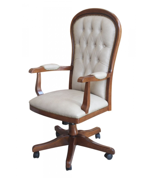 Eco-leather swivel armchair in wood for elegant office. Sku Dinamic-eco