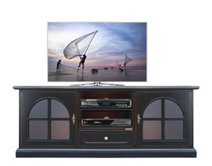 Black TV stand art. 3159-Black in black with edges in cherry colour