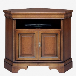Corner tv cabinet Art. 488 in walnut colour with patina finish