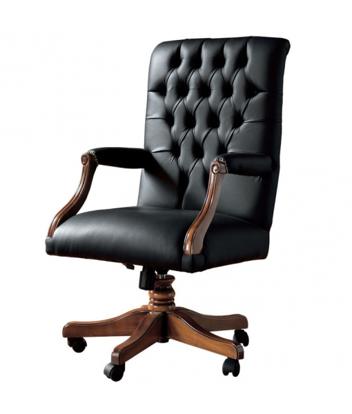 Swivel office armchair, solid structure and high quality padding