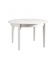 round extendable table in wood, classic table, wooden table, dining table, white table
