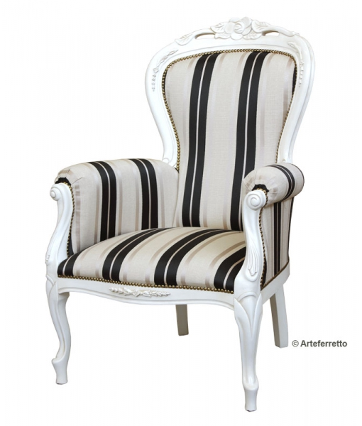 armchair, classic armchair, wooden armchair, white amrchair, lacquered armchair
