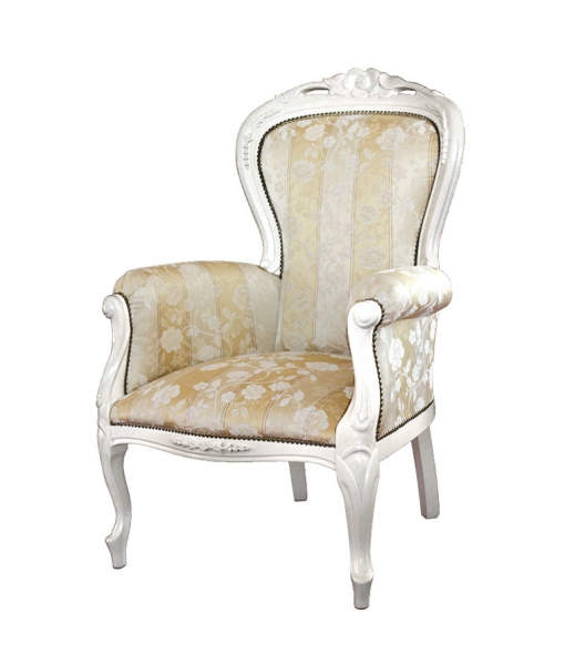 armchair, classic armchair, wooden armchair, white amrchair, lacquered armchair, SKU. VIS-179-B