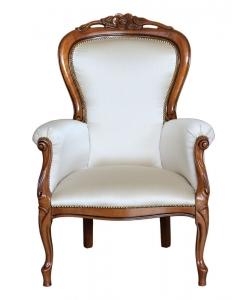 classic armchair, wooden armchair, padded armchair, living-room armchair