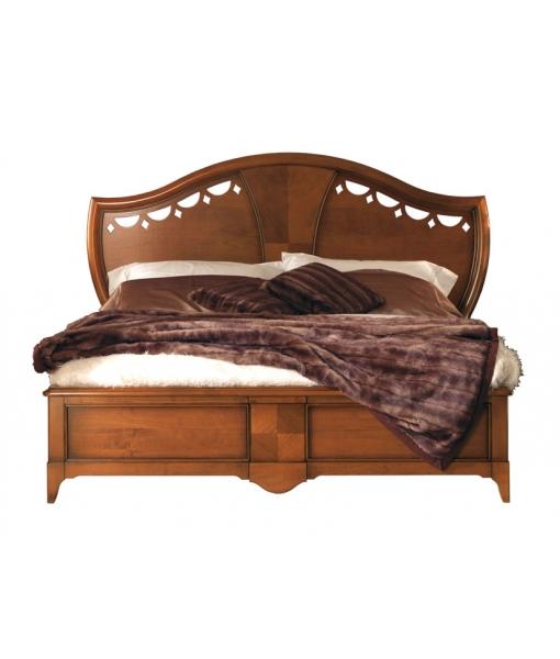 Inlaid headboard bed, den in solid wood. Sku AF-1014