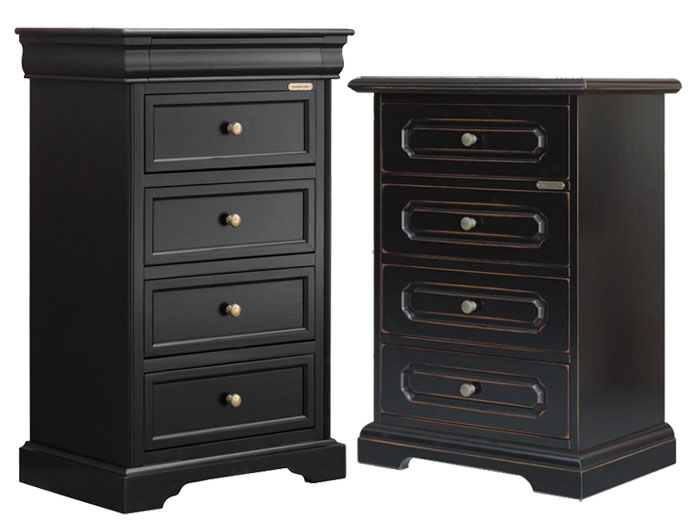 Black matt lacquer finish and black finish with edges in cherry colour