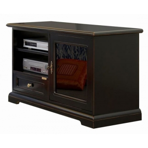 Black TV stand art. 3824-N in black and inner cherry colour