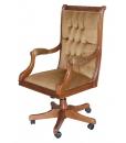 classic swivel armchair, armchair, upholstered armchair, office furniture, wooden armchair