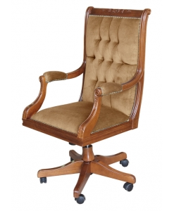 classic swivel armchair, armchair, upholstered armchair, office furniture, wooden armchair