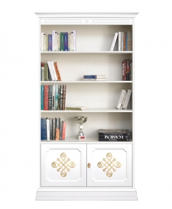 decorated bookcase in wood, wooden bookcase, classic style furniture, bookshelf, office bookcase, Arteferretto furniture