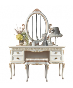 dressing table set, romanticism style, console table, mirror, ottoma, elegant dressing table,