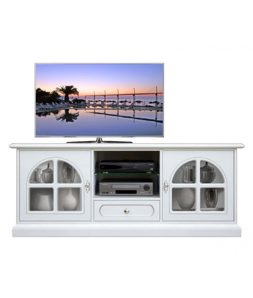 White tv cabinet with display doors. Sku 3059-BB