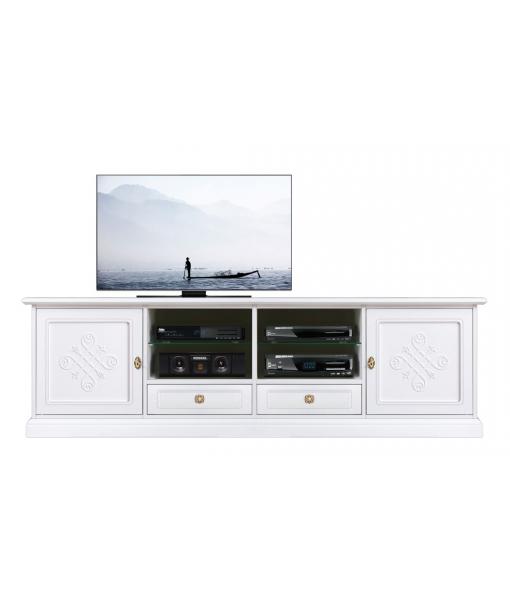 Wooden tv cabinet in white with door patterns. Sku 4010-BI-YOU