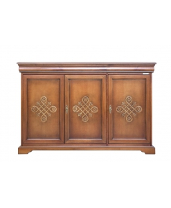 3 decorated door sideboard, wooden sideboard, wooden furniture, Arteferretto furniture, Arteferretto sideboard, living room sideboard, classic style sideboard, Louis Philippe style sideboard, cupboard