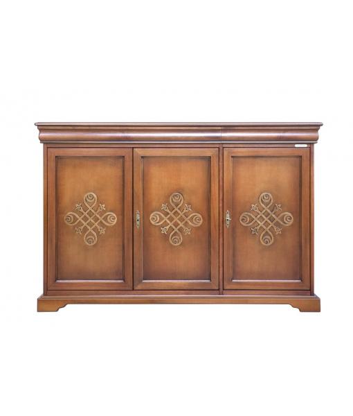 3 decorated door sideboard in wood. Sku 350-You