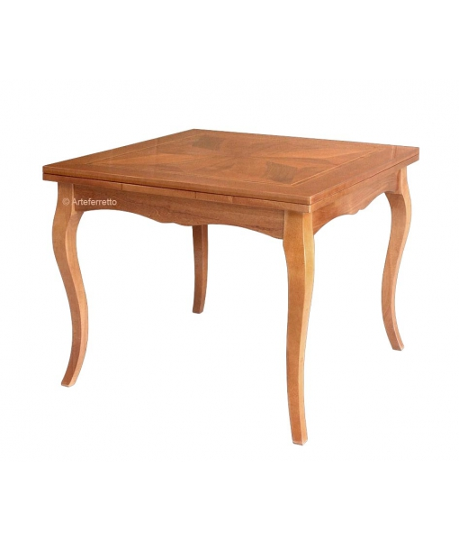 Inlaid square table with extendable top. Sku FA-337
