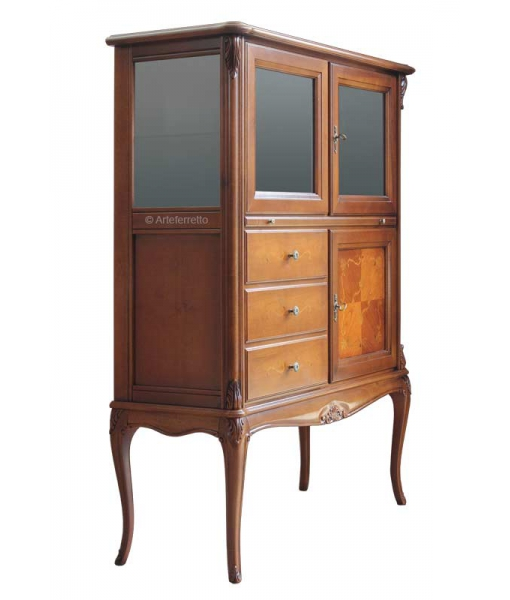 Wooden bar cabinet, bar cabinet, living room cabinet, classic cabinet, display cabinet, inlaid cabinet for living room, classic living room, classic furniture, small cabinet, cabinet with drawers, wooden display cabinet, italian design cabinet, italian furniture,