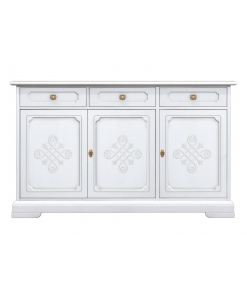 3 door sideboard, sideboard, white sideboard, wooden sideboard, living room sideboard, dining room sideboard, classic sideboard, italian design sideboard