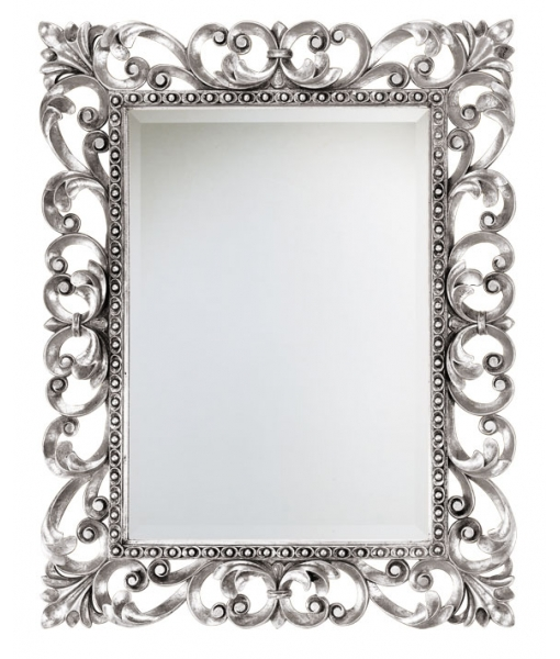 carved mirror, silver mirror, rectangular mirror, elegant mirror, entryway mirror