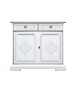 lacquered sideboard, classic sideboard, white sideboard, 2 door sideboard, classic style sideboard, classic living room, living room furniture, ivory sideboard, wooden sideboard