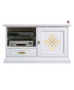 lacquered tv cabinet in wood, wooden tv stand, white tv unit, living room cabinet, golden details, small tv unit