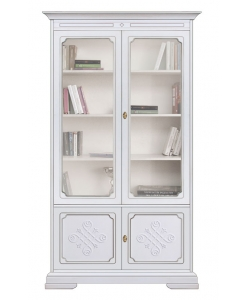 display cabinet, white display cabinet, wooden cabinet, bookcase with glass doors, classic display cabinet, lacquered display cabinet, living room furniture, office furniture,