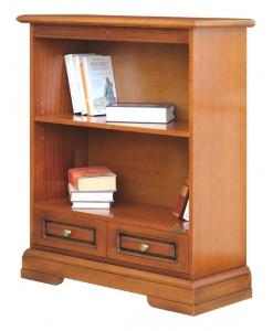 office bookcase, bookcase for office, wooden lower bookcase, bookcase, bookcase in wood, small bookcase, bookcase with drawer, bookshelf, living room furniture, library furniture, classic style bookcase, classic style furniture, home furniture, made in italy, artisan bookcase