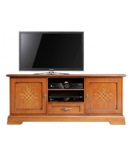 Italian design tv cabinet in wood with friezes. sku 3059-you