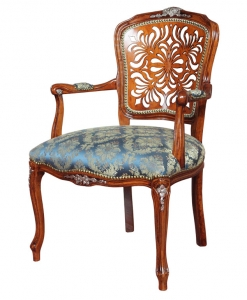 parisian armchair, armchair in classic style, carved armchair, pierced backrest armchair, padded armchair, living room armchair