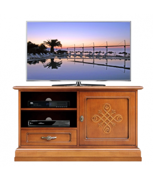 Classic line tv stand in wood with pattern. Sku 3820-YOU-MAX