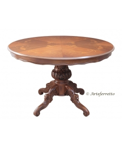 extendable rounded table, rounded table, dining room table, wooden table, classic table, rounded table with iinlays